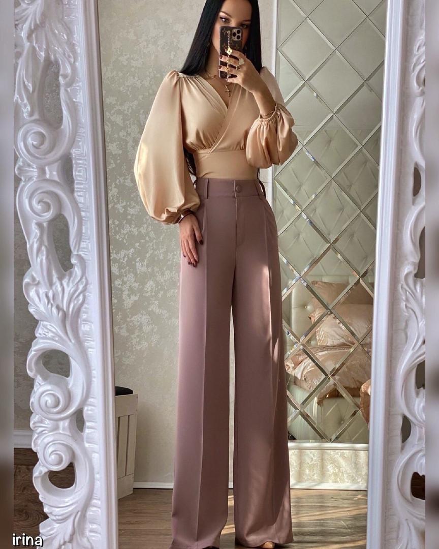 Женские брюки, турецкая костюмка, р-р С-М; М-Л (пудровый)