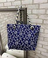 Пляжная сумка яркая льняная красивая летняя с веревочными ручками