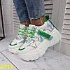 Кроссовки на высокой платформе тракторной подошве белые с  зеленым, фото 4