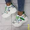 Кроссовки на высокой платформе тракторной подошве белые с  зеленым, фото 7