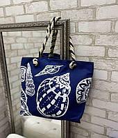 Пляжная сумка яркая льняная летняя с веревочными ручками и морским узором
