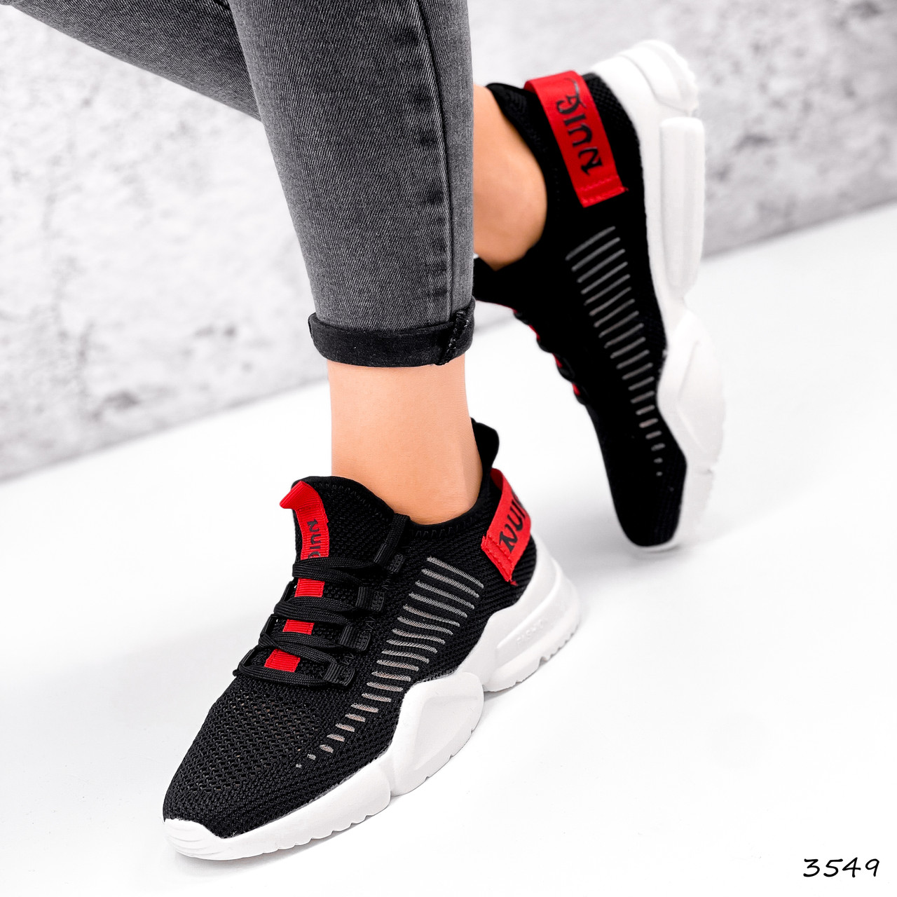 Кросівки жіночі Ayder чорні + червоні 3549