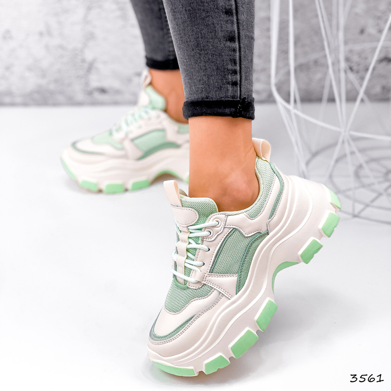 Кросівки жіночі Simar беж + світло м'ятний 3561