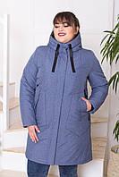 Жіноча молодіжна демісезонна куртка-парка Дн-4 з 4 кишенями, джинс меланж