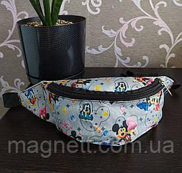 Детская поясная сумка бананка для девочек с рисунком Микки и Минни Маус