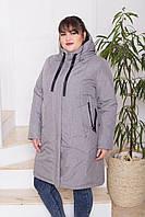 Жіноча молодіжна демісезонна куртка-парка Дн-4 з 4 кишенями, сірий меланж