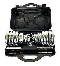 Набор хромированных гантелей NEO-SPORT - 30 кг в боксе, разборных со сменными дисками, фото 2