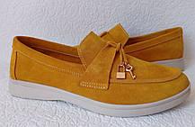 Женские лоферы Loro piana,желтые  замшевые туфли лоро пиана мокасины