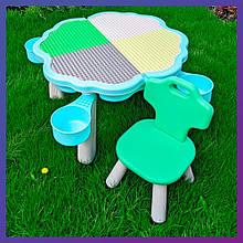 Детский пластиковый столик с ящиком и стульчик Bambi YG2020-3-4 мятный