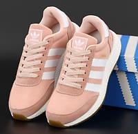 Жіночі кросівки Adidas Iniki Runner замшеві пудрові весна-літо-осінь. Живе фото. Репліка