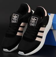 Жіночі кросівки Adidas Iniki Runner замшеві весна-літо-осінь чорні з пудрою. Живе фото. Репліка
