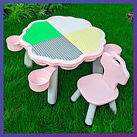 Детский пластиковый столик с ящиком и стульчик Bambi YG2020-3-8 розовый