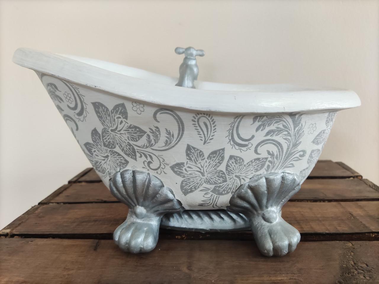 Ванна Вазон для цветов Кашпо, акрил, глина, рисунок - ручная робота