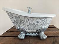 Ванна Вазон для цветов Кашпо, акрил, глина, рисунок - ручная робота, фото 1