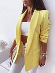 Женский пиджак, креп - костюмка класса люкс, р-р С-М; М-Л (лимонный), фото 2