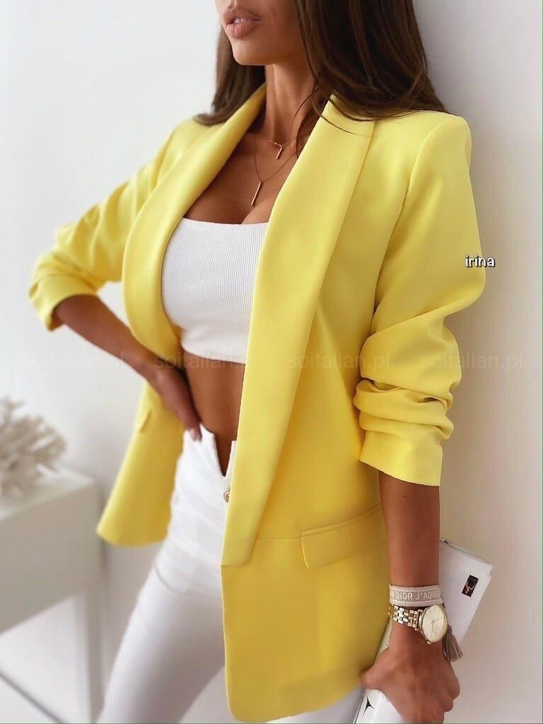 Женский пиджак, креп - костюмка класса люкс, р-р С-М; М-Л (лимонный)