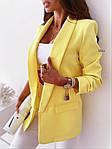 Женский пиджак, креп - костюмка класса люкс, р-р С-М; М-Л (лимонный), фото 3
