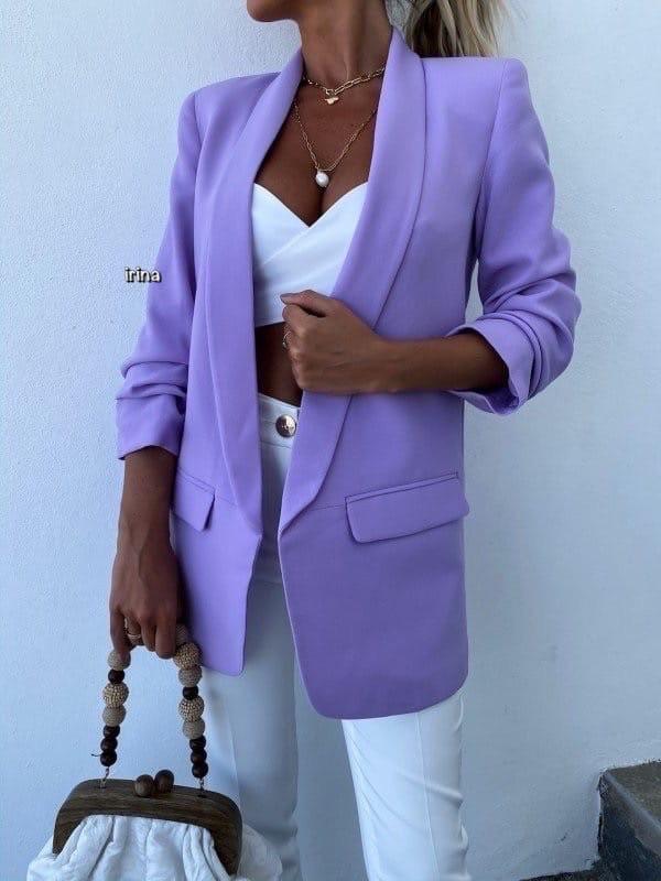 Женский пиджак, креп - костюмка класса люкс, р-р С-М; М-Л (лаванда)
