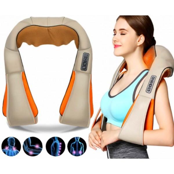 Масажер для шиї, спини з ІЧ-підігрівом | Massager of neck kneading Plus | Роликовий масажер-накидка на плечі