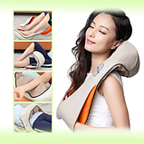 Массажер для шеи спины с ИК-подогревом   Massager of neck kneading Plus   Роликовый массажер-накидка на плечи, фото 4