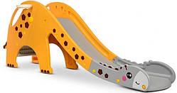 Горка детская пластиковая GIRAFE-6, желто-серая