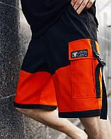 Шорты карго черные мужские с оранжевыми вставками Корт (Court) от бренда ТУР размер S, M, L, XL