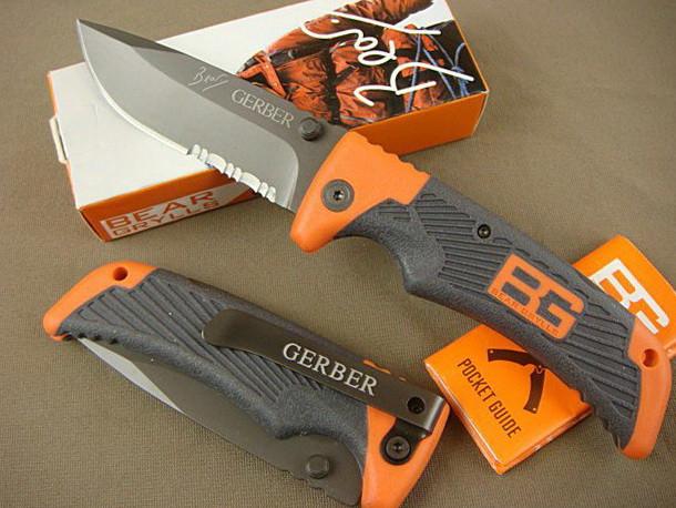 Складной нож Gerber Scout Bear Grylls с прищепкой (Длина 21 см.) Складаний ніж для полювання та риболовлі