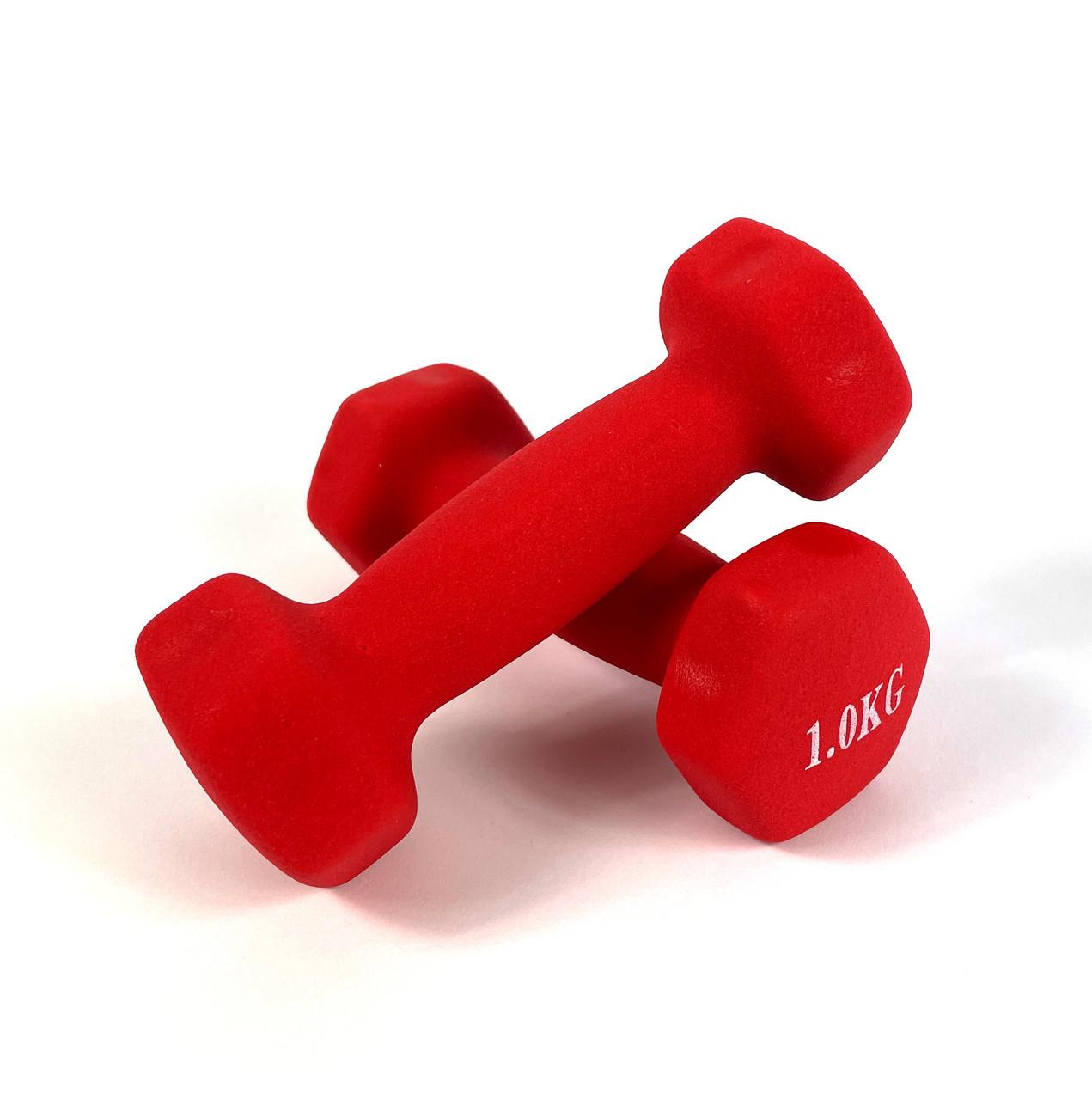 Гантели для фитнеса NEO-SPORT 1 кг. x 2 шт., металл с виниловым покрытием Красный