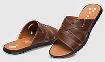 Denim club! Качественные кожаные мужские шлепанцы, сандалии, босоножки для лета коричневого цвета