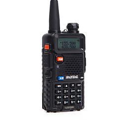 Рация Baofeng UV-5R (5W, VHF/UHF, 136-174 MHz/400-470 MHz, до 5 км, 128 каналов, АКБ), черная