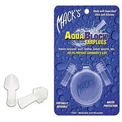 Силіконові беруші Mack's AquaBlock (захист від води) з контейнером, прозорі