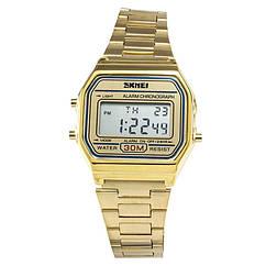 Часы электронные Skmei 1123, золотые, в металлическом боксе