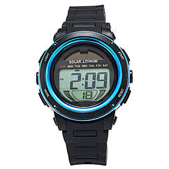 Часы электронные, спортивные Skmei DG1096, синие, с солнечной панелью, в металлическом боксе