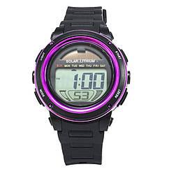 Часы электронные, спортивные Skmei DG1096, фиолетовые, с солнечной панелью, в металлическом боксе