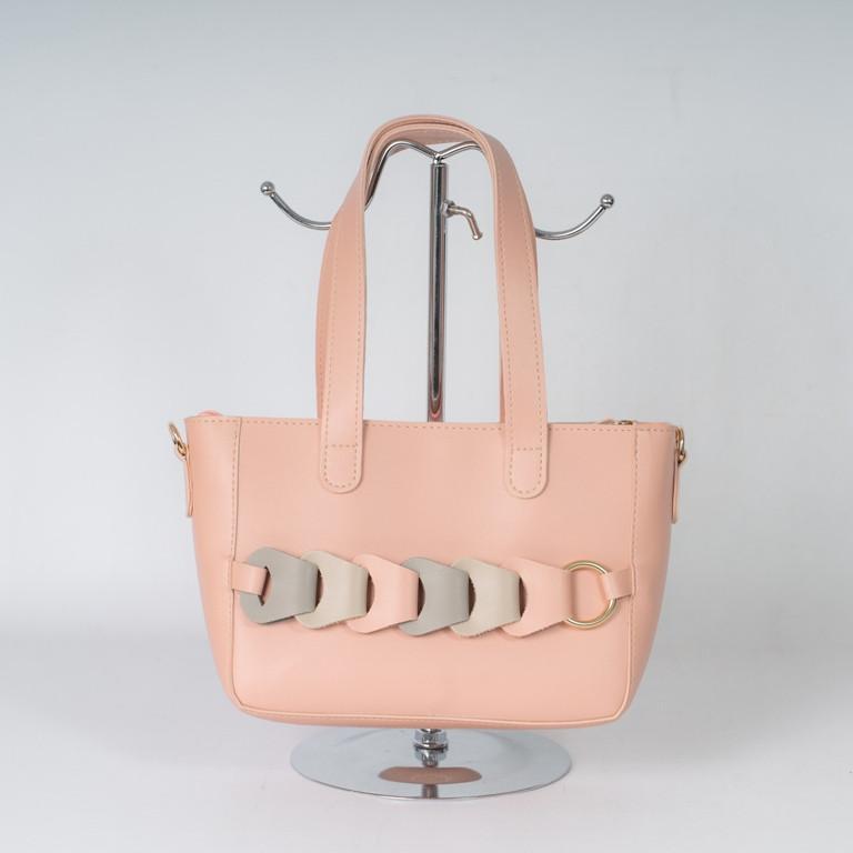 Пудровая рожева жіноча сумка K23-21/4 маленька корзинка саквояж плече з довгими ручками