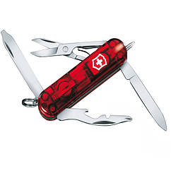 Нож складной, мультитул + LED Victorinox Midnite Manager (58мм, 10 функций), красный прозр. 0.6366.Т