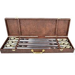 Набор шампуров ручной работы Мастер-Крами Медведи, рукоять бронза (3х10мм, 60см), 6 шт, в кожаном кейсе