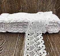 """7,5 см Кружево гипюр белого цвета для отделки ткани """"Цветы"""""""