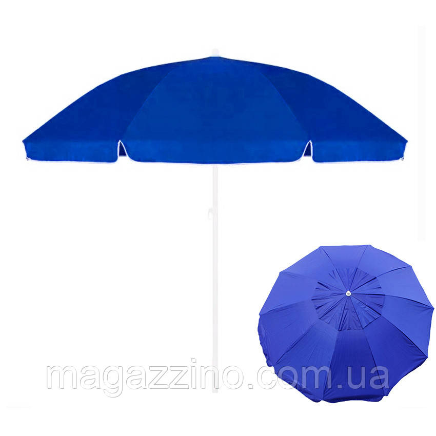 Зонт пляжний з клапаном і срібним напиленням, діаметр 3м., 10 спиць, Синій