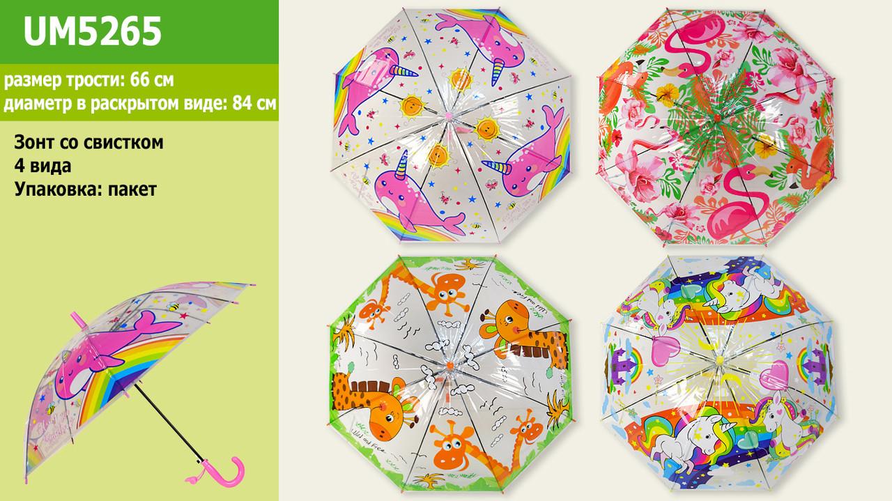 Зонт детский UM5265 (60шт|5) прозрачный, 4 вида 66 см, диаметр 84 см в пакете