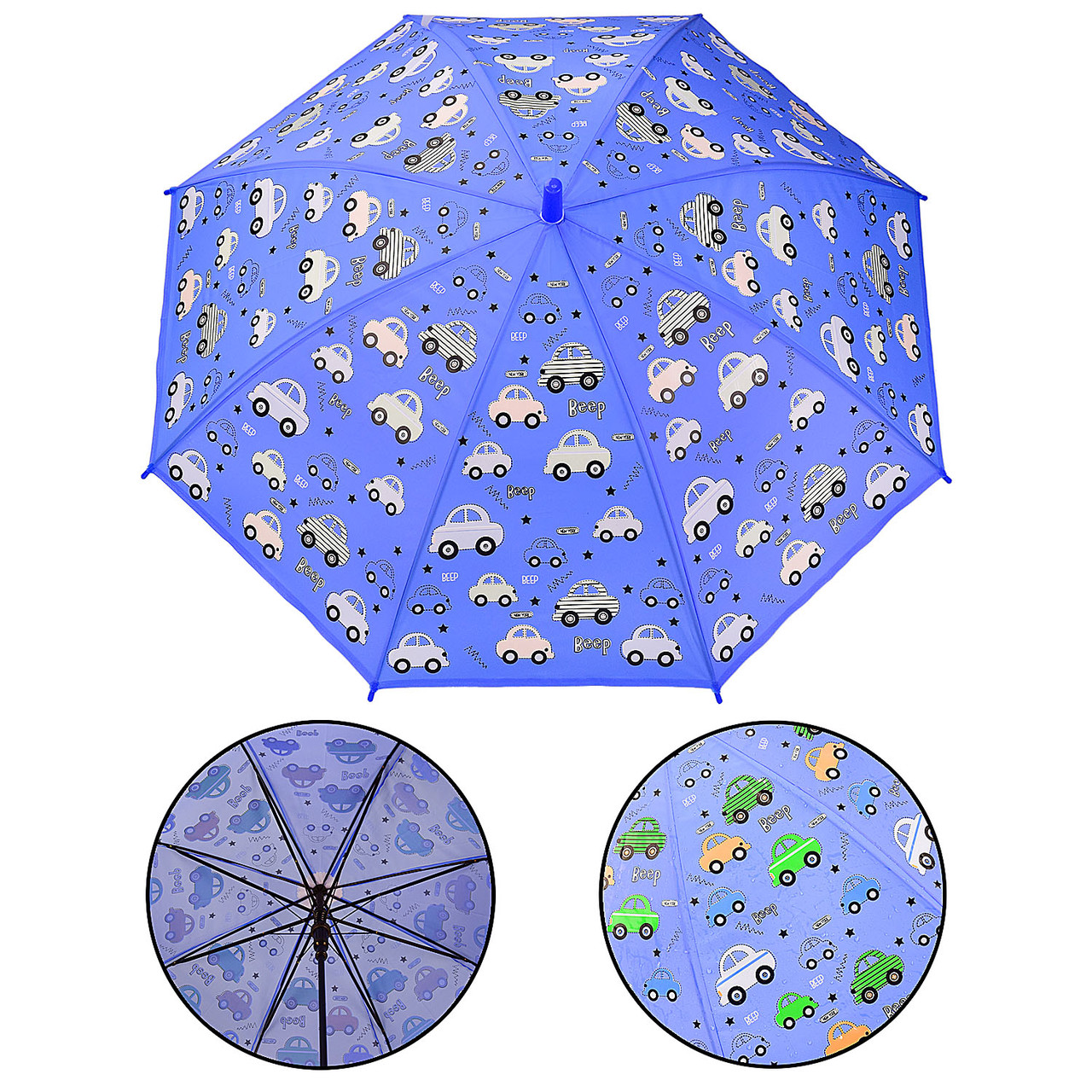 Парасолька дитяча UM522 (60шт|5) машинки, при намоканні проявляється колір, р-р тростини - 66 см, діаметр в