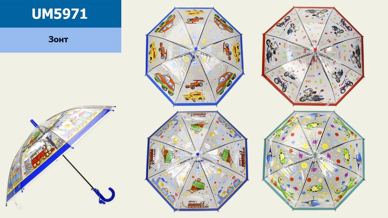 Парасолька дитяча UM5971 (60шт 2) для хлопчиків, 4 види, 66 см, купол 80 см,зі свистком, в пакеті