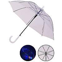 Зонт LED UM5216 (60шт|5) прозрачный, со светом, длина трости – 77 см, диаметр в раскрытом виде – 90