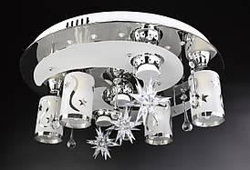 Люстра стельова Космос з кольоровий LED підсвічуванням і авто відключенням з пультом 5242/4+3 Хром 17х50х50 див.