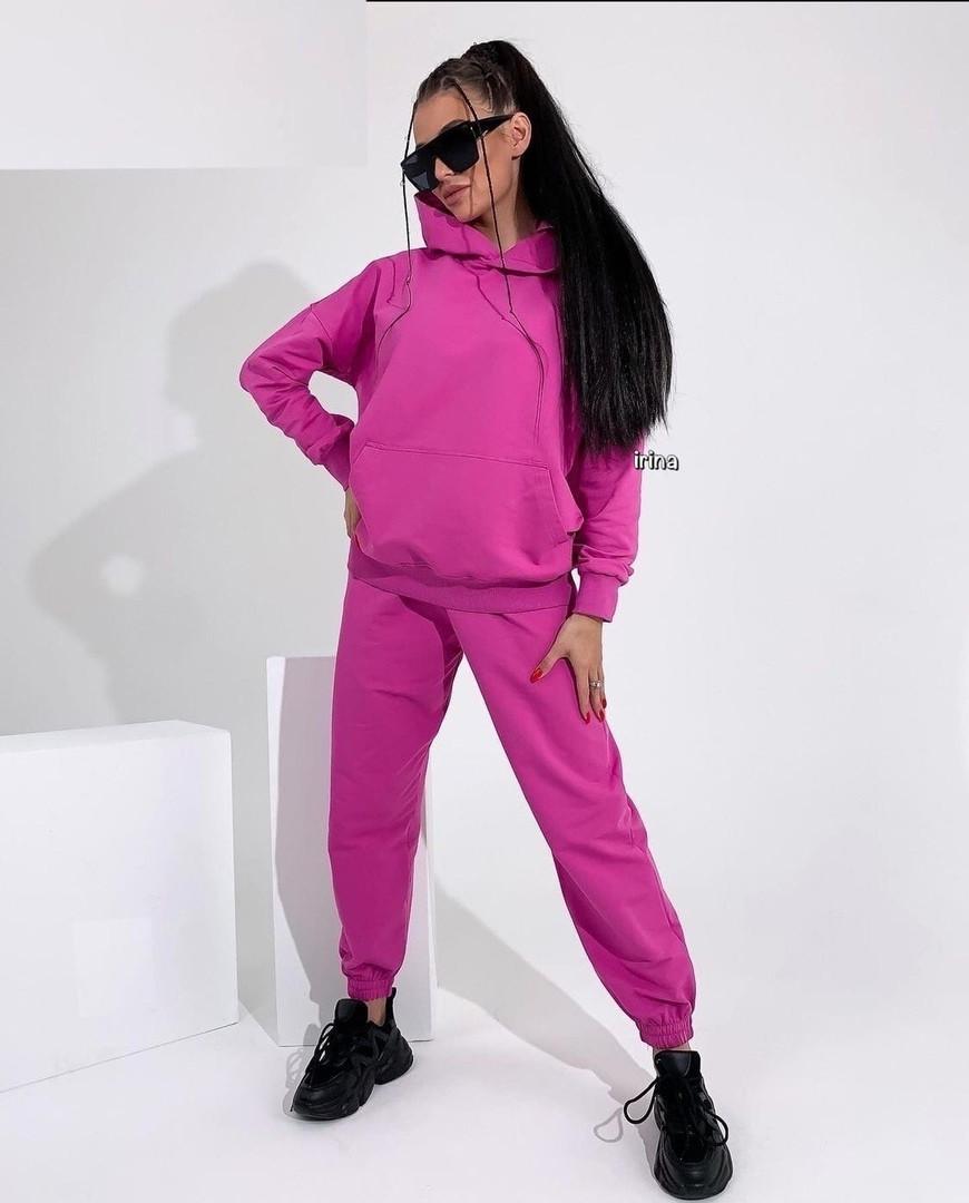 Жіночий спортивний костюм, турецька двунить, р-р С-М; М-Л (рожевий)