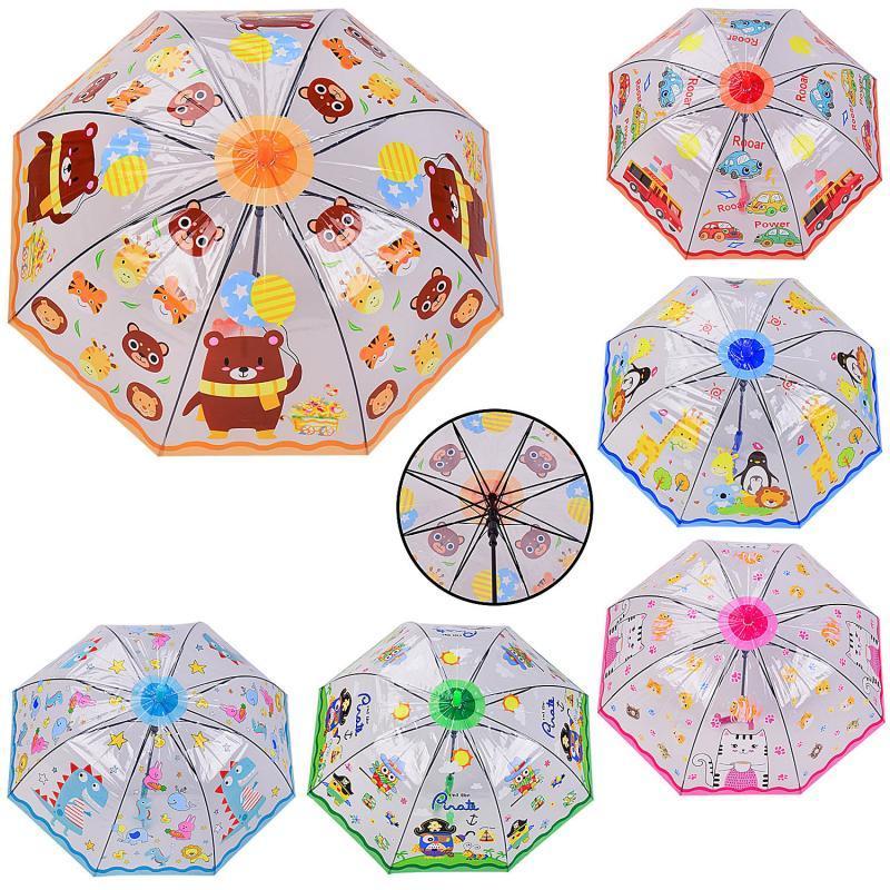 Зонт детский UM525 (60шт|5) прозрачный, 6 видов, р-р трости – 66 см, диаметр в раскрытом виде – 72 см