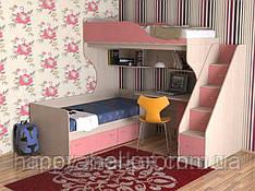 Кровать чердак с нижним спальным местом и лестницей комодом для подростков(18 мм)   АЛ1Merabel