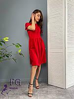 Однотонное трикотажное платье с короткими рукавами 051 В /03, фото 1
