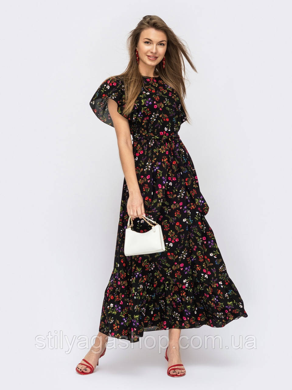 Длинное платье в цветочном принте ЛЕТО