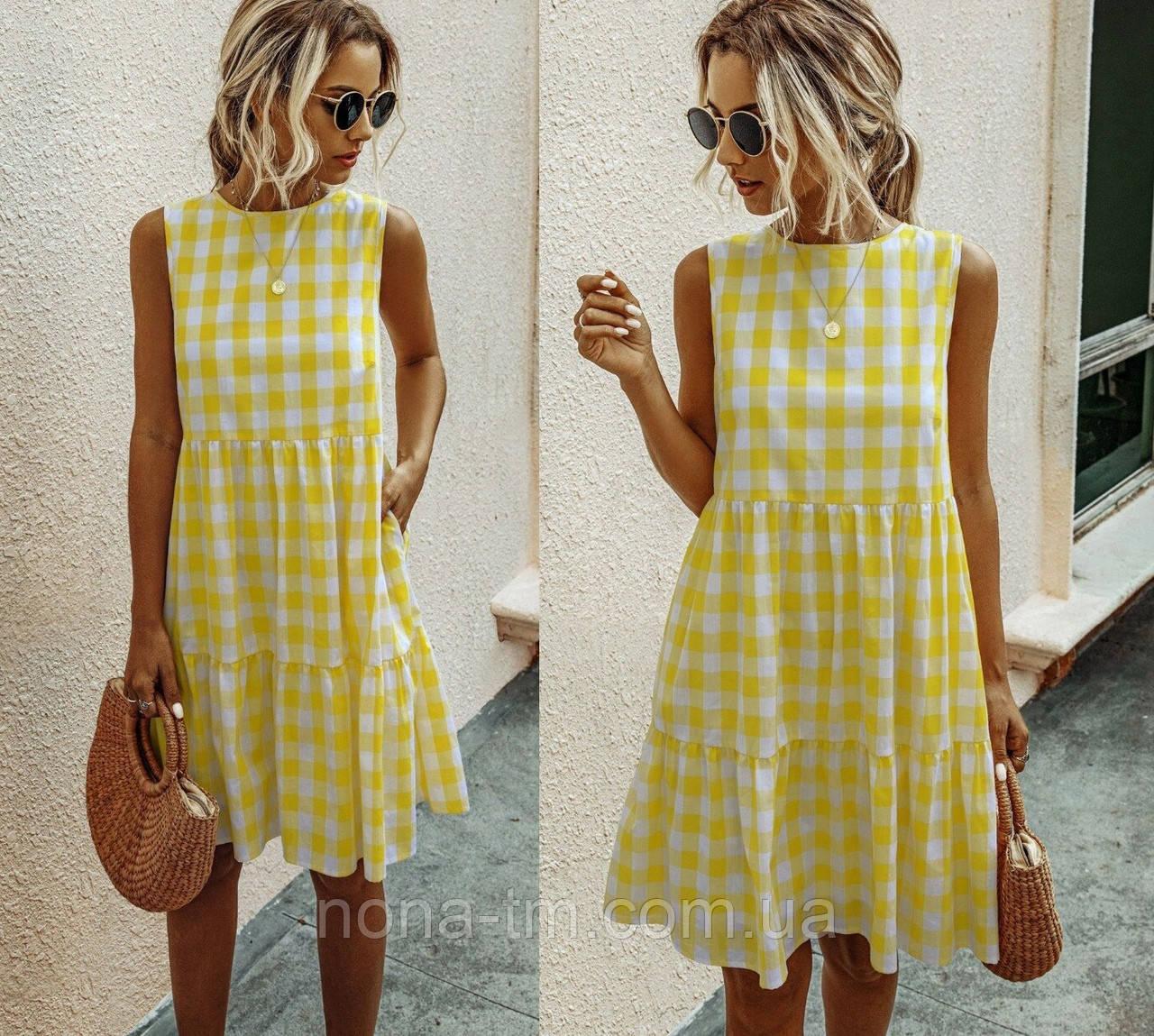 Женское платье-сарафан летнее с карманами